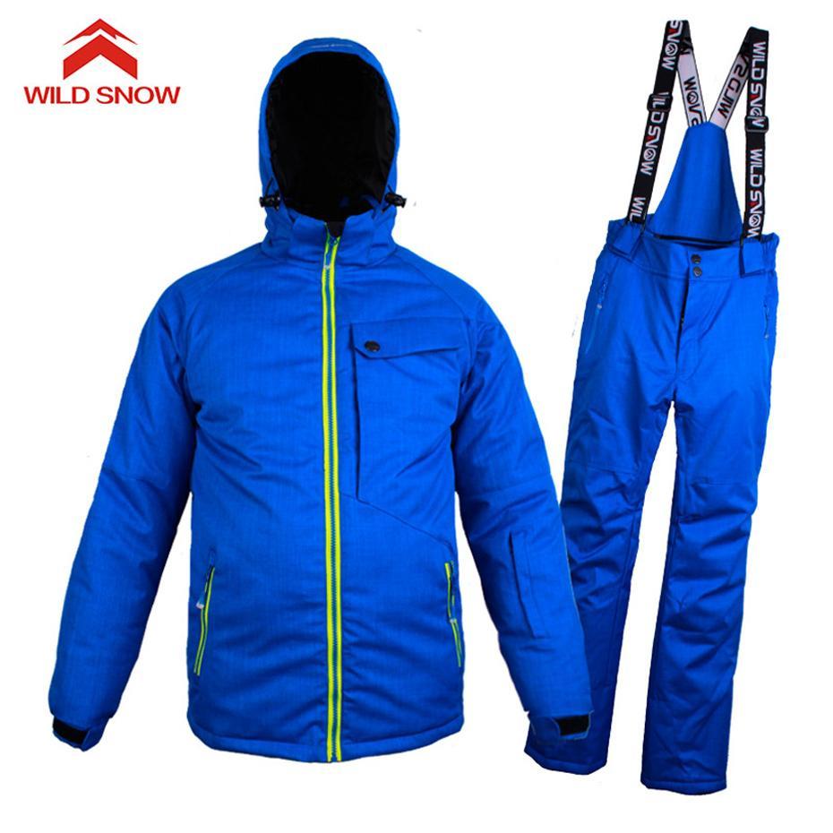 c6bcfb840c Tuta da sci di marca di neve selvaggia uomini inverno impermeabile  antivento addensare vestiti caldi di neve sci set giacca sci e snowboard  Suit