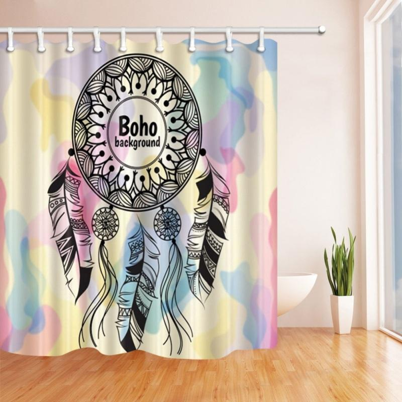 Shower Curtain 180X180cm Dreamcatcher Waterproof Polyester Fabric For The Bathroom Decoration With Hooks UK 2019 From Gor2don
