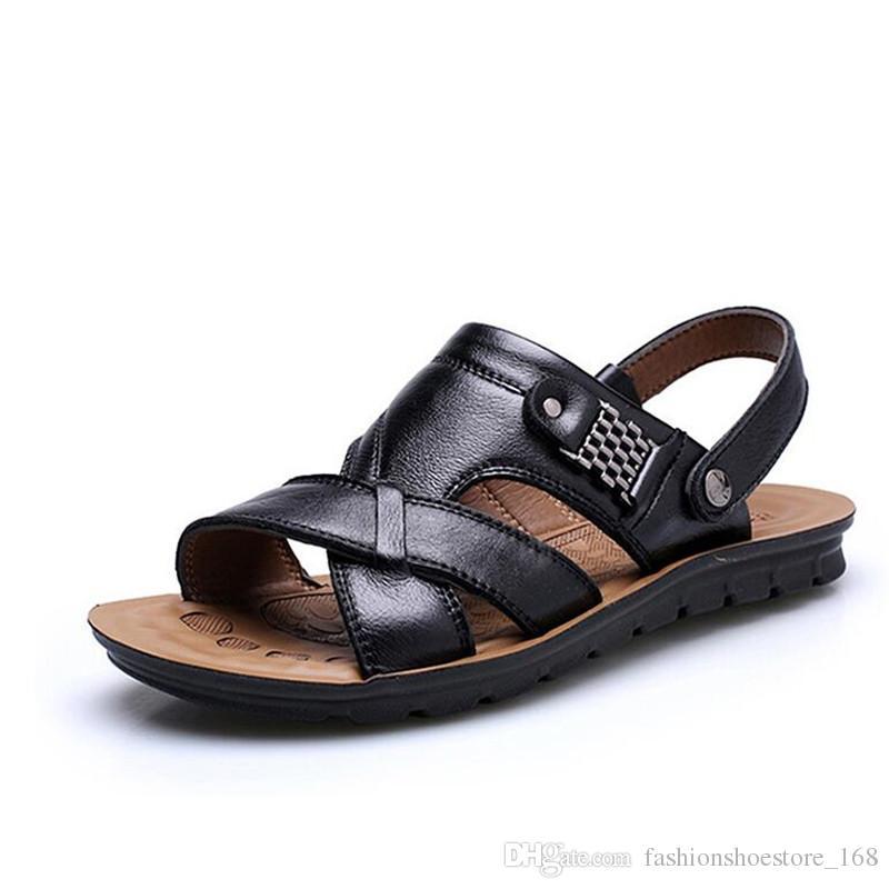 dd8a79dd3 Compre Sandalias Para Hombre De Cuero Genuino Moda Transpirable Sandalias  De Cuero Para Hombres De Verano Sandalias De Playa Zapatos Sandalias  Zapatillas De ...