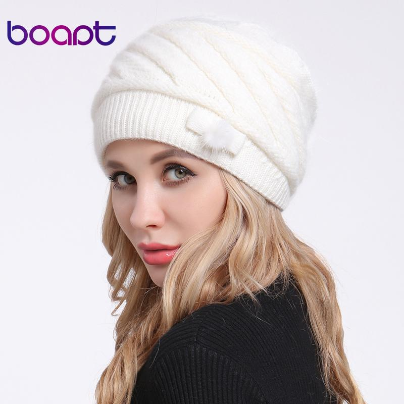 03370ece338 boapt Fold Braids Back Rope Knitted Angora Rabbit Bonnet Caps For Women S  Hat Female Winter Hats Mother Lady Skullies Beanies Knitted Hats Knit Cap  From ...