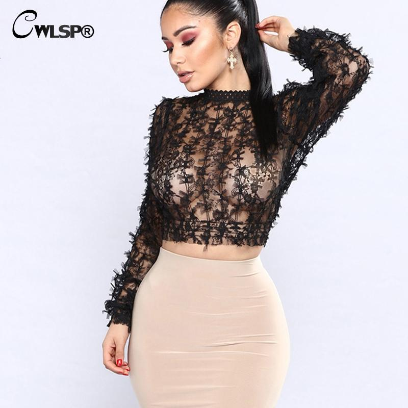 CWLSP See through T-shirts for women Black Bow Tops Mesh Lacet shirt Lanter sleeve Lady Transparent Tee camisas femininas QL3554