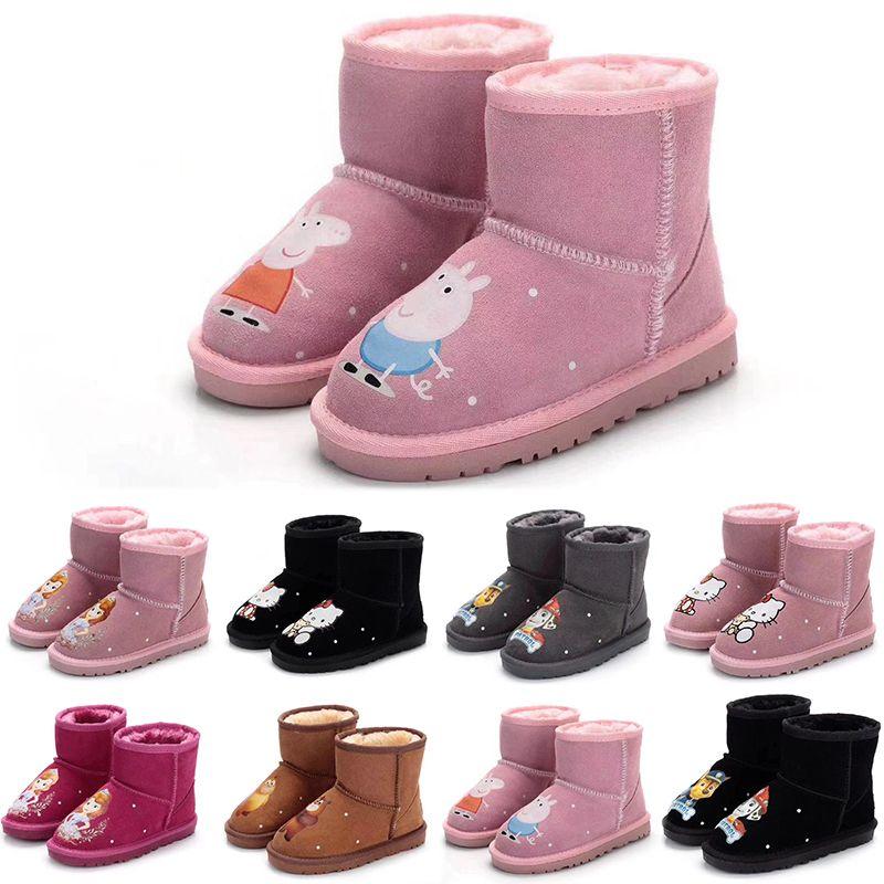 1b084dc8f79d9 Acheter Ugg Boots Hiver 2018 Nouvelles Bottes De Neige Filles Bottes  Chaussures D hiver Fille Fourrure Enfants Bottes En Caoutchouc Enfants En  Cuir Coton ...