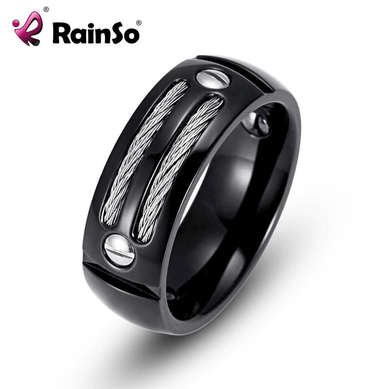RainSo Mens Stainless Steel Ring Hematite Healthy Healing Magnetic