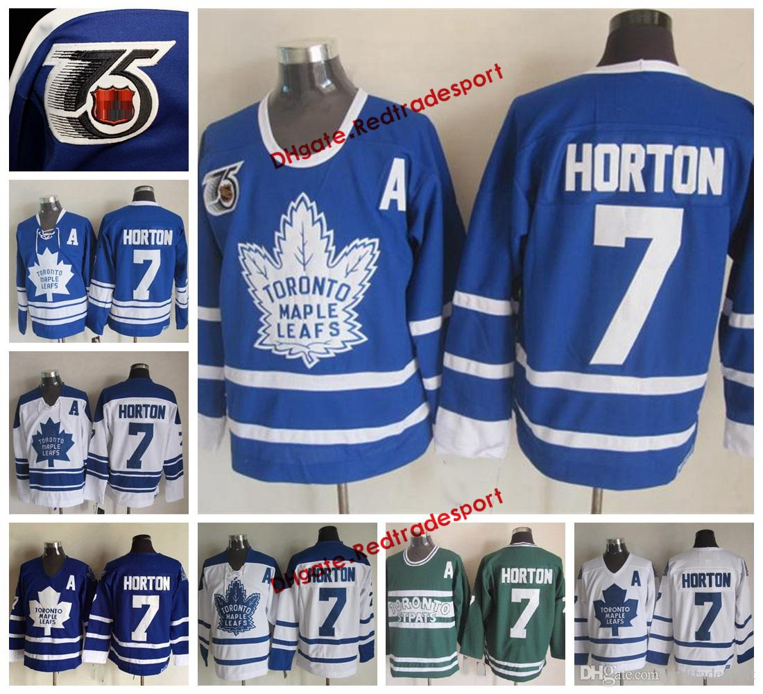 official photos 388fc 08f58 Vintage Toronto Maple Leafs Tim Horton Hockey Jerseys Home Blue Mens  Classic #7 Tim Horton Stitched 75th Anniversary Hockey Shirts A Patch