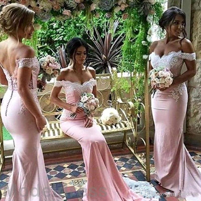 Blush Pink Mermaid Bridesmaid Dresses 2019 Off Shoulder Sweetheart Backless Sweep Train Cheap Real Images Wedding Guest Party Gowns Custom