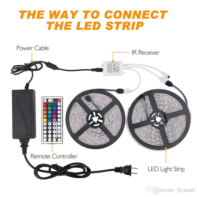 Led Strip Lights Kit SMD 5050 32.8 Ft 10M 300leds RGB with 44key IR Controller and 12V5A Power Supply for TV Backlighting Kitchen Cabinet