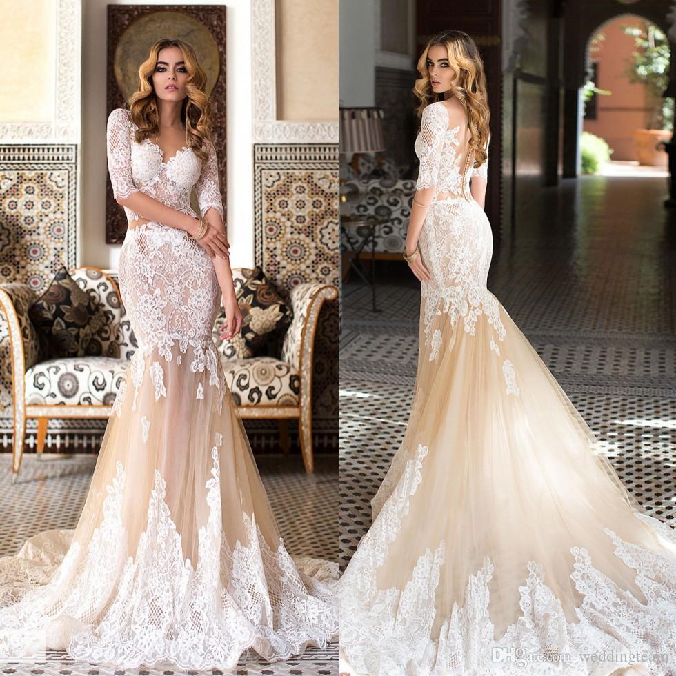4994356ebade5 Classy Mermaid Lace Wedding Dresses Sweetheart Neck Half Sleeves See  Through Buttons Back Bridal Gowns Trumpet Sweep Train Vestido De Novia  Black Wedding ...