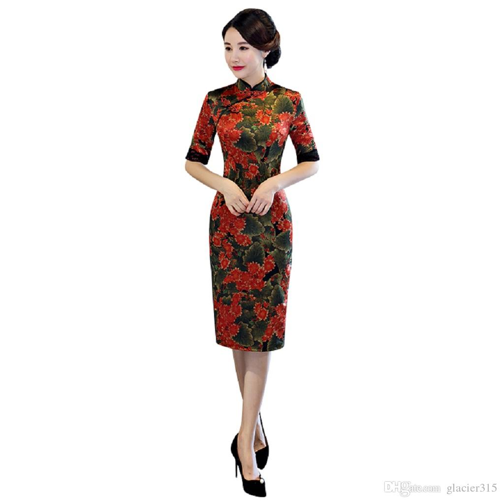 348b38d36 Shanghai Story 2019 New Arrival Top Quality Long Qipao Dress With Lining Chinese  Dress Flower Print Cheongsam Qipao Dress Backless Dresses Cheongsam From ...