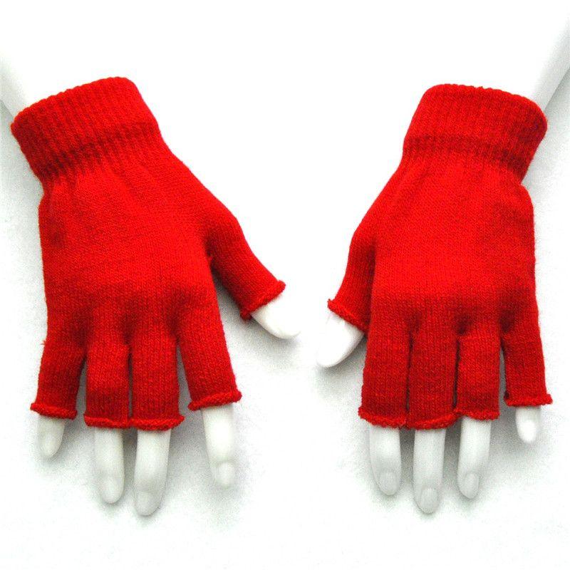 3d4ebf7ef72c2 2018 Big Kids Fingerless Gloves Wool Button Fingerless Gloves Knitted  Mittens Men Women Winter Mittens Wrist Warm Half Finger Glove