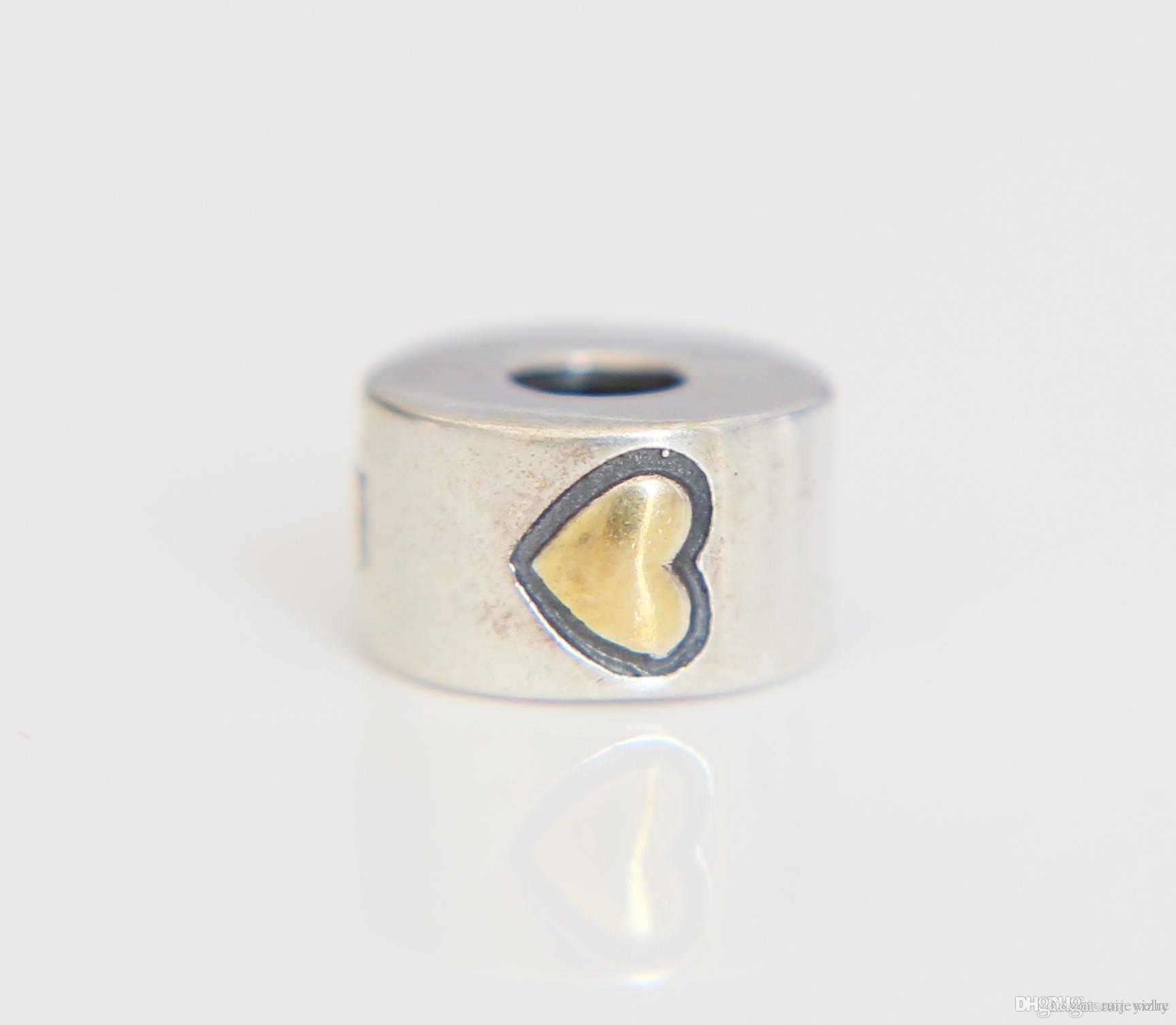 804baecf3 Original Authentic 100% 925 Sterling Silver Gold Heart Cz Clip Charm ...