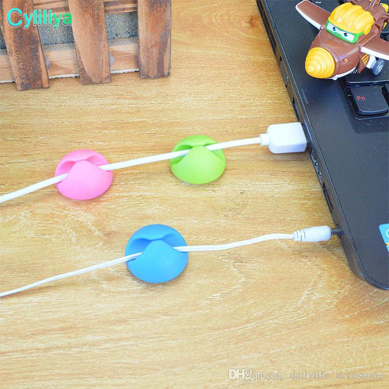 100 PCS Cable Clip Desk Tidy Organizer Wire Cord lead USB Charger Holder