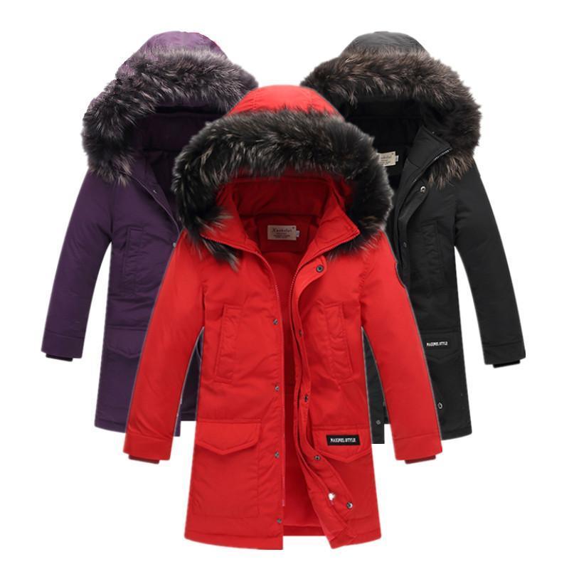 Neue Teenager Parka Big Boys Winter Warme Mantel Jacke für Jungen Kinder Kinder Daunenjacken Waschbär Pelz auf Kapuze