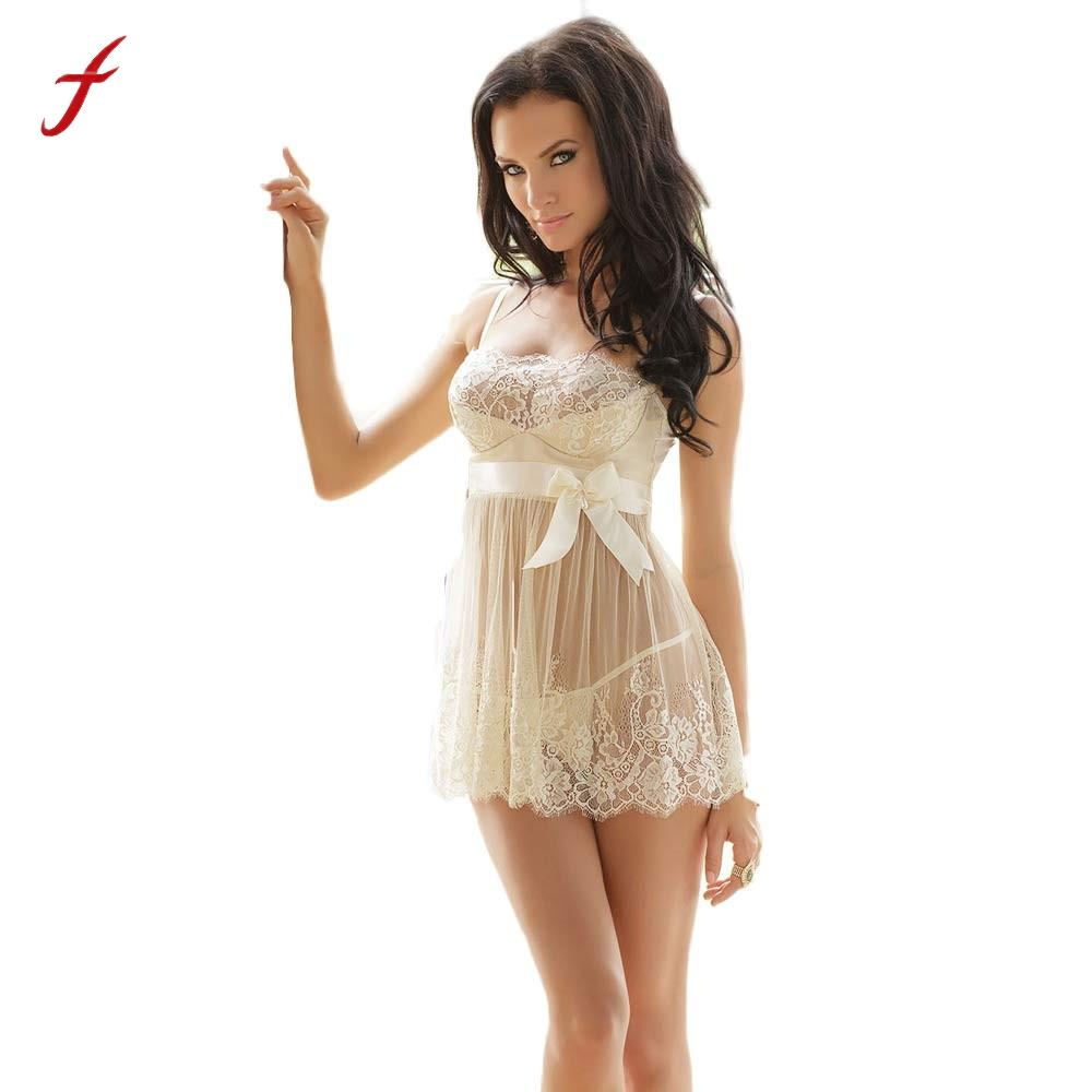2017 Sexy Lingerie Set Women White Bridal Mesh Crochet Lace Dress with Lingerie Underwear Sleepwear Robes Sets Plus Size