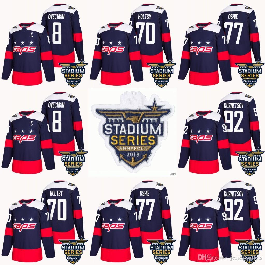 2019 2018 Stadium Series Washington Capitals 8 Alex Ovechkin 70 Braden  Holtby 77 T.J. Oshie 92 Evgeny Kuznetsov Navy Hockey Jersey From  Jerseyoutlets 6a6367fe7