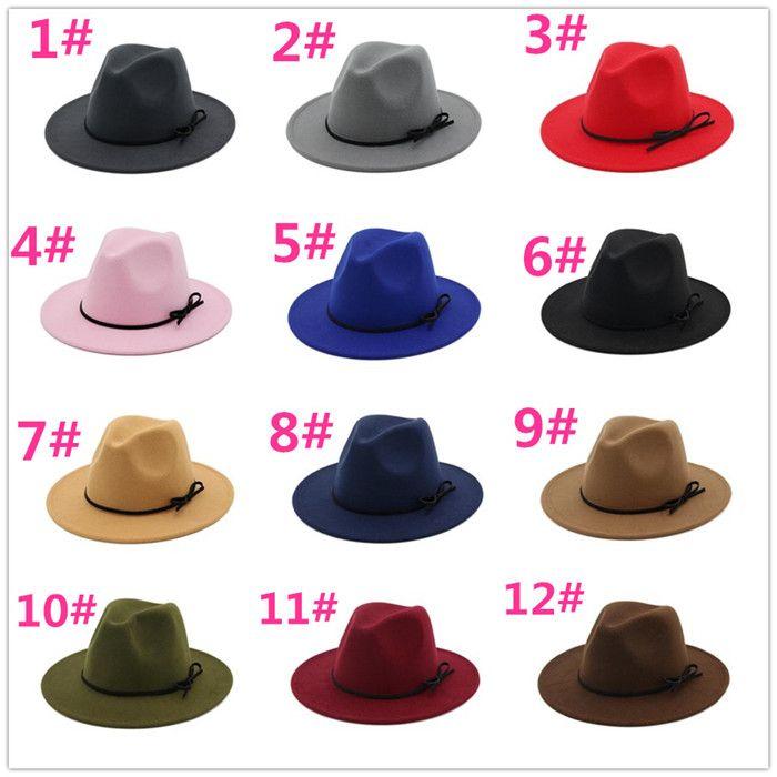 Mode chapeaux vintage pour les femmes élégante mode solide feutre Fedora Hat Band large bord plat Jazz Chapeaux Élégant Trilby Panama Caps R101
