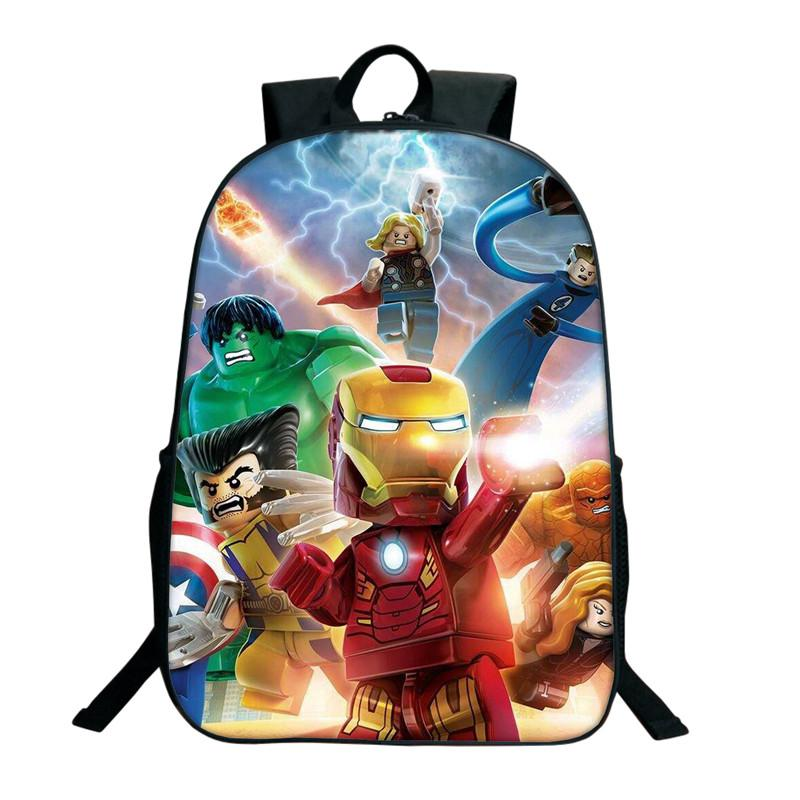 Hot Sale Kids Cartoon Lego Iron Man Backpacks Lego Movie Backpack For Boys  Girls Ninjago Pattern School Bag Back Pack Mochilas Jansport From Wearbag f453847784989