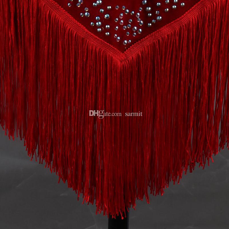 Latin Dans Elbise Kostümleri Kadın Salsa Tango Elbise D0370 Kırmızı Siyah Sutyen Fincan Iç Çamaşırı ile Rhinestones Püsküller Kabarık Sırf Etek 1/2 Kollu