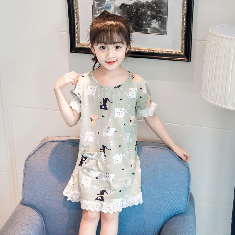 1a724d27f16c4 Pijama Infantil Kids Summer 2018 Kids Clothes Girls Nightgown Sleepwear  Gowns Children Pajamas Dress Teen 6 8 10 12 14 16 Year