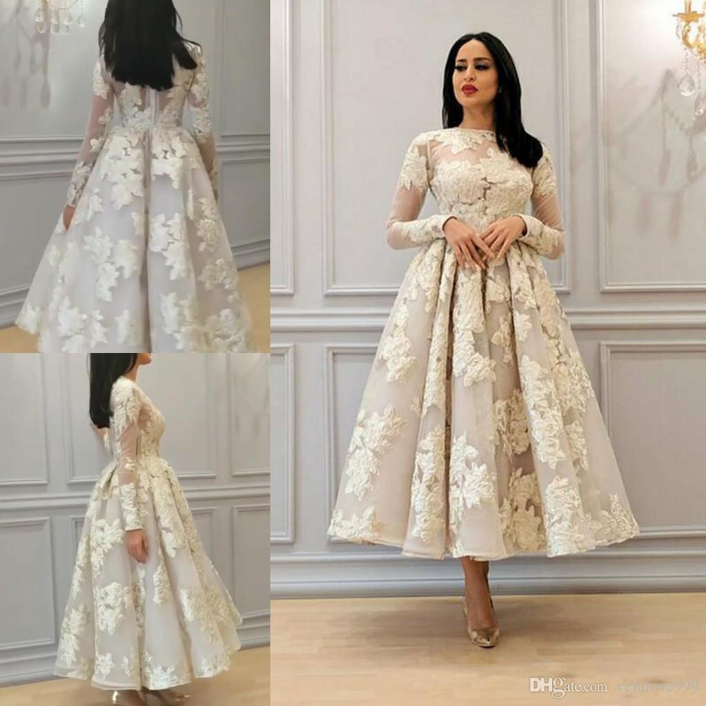 Illusion Neck African A Line Wedding Dresses With Long Sleeves Lace  Appliques Tea Length Bridal Dresses Saudi Arabic Wedding Gowns Plus Size