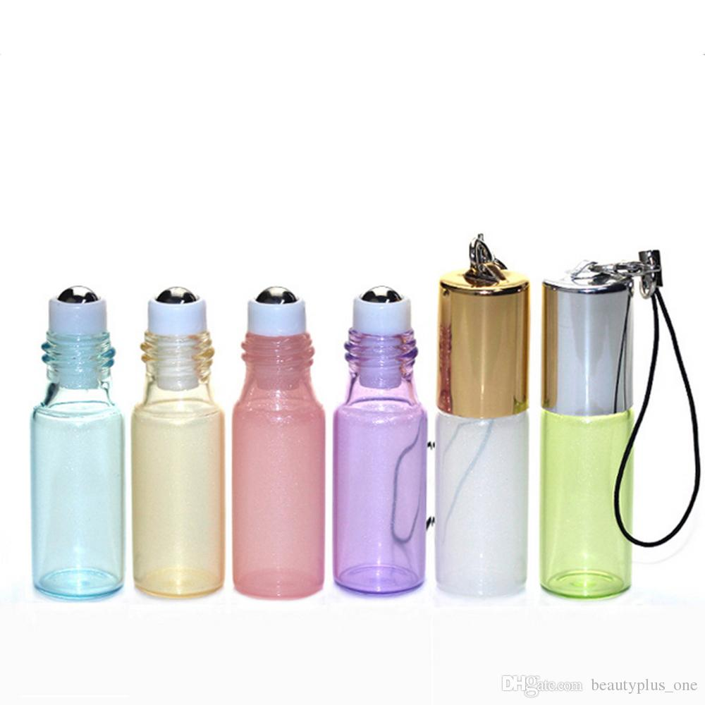 5ml Glass Roll On Bottle Pendant Pearl Lustre Color Rollon Metal Roller Ball Bottle Essential Oil Liquid Fragrance Key Chain