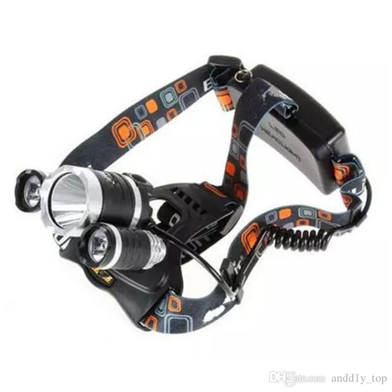New CREE XML T6 + 2R5 LED Farol Farol Head Lamp Luz tocha 4-mode 2x18650 bateria carregador de carro US UE para a pesca Luzes
