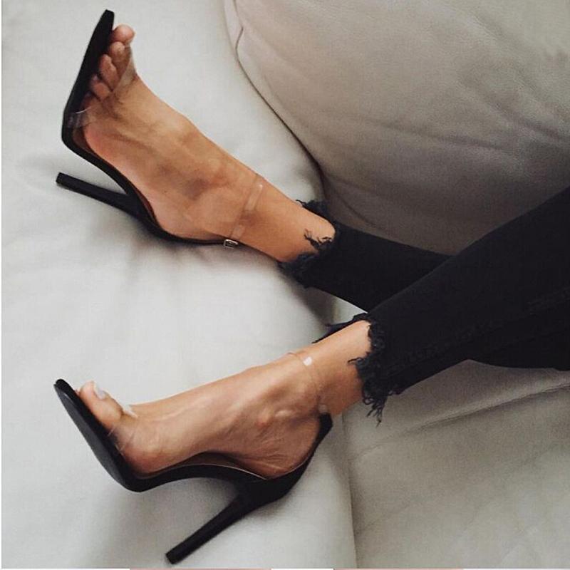 Boucle En Sexy Pompes Femmes Acheter Pvc Vente Clair Gros D'argent IY6bgfy7v