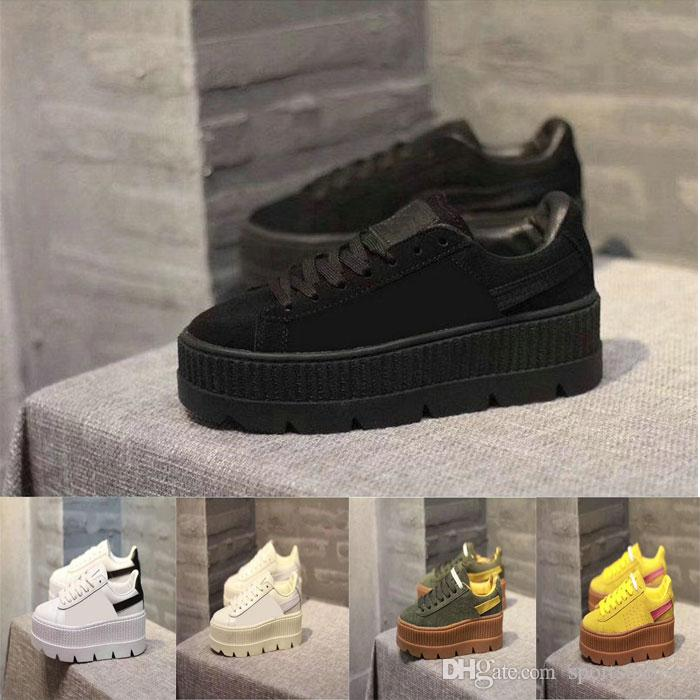 new concept 2d52d 4c7bb 2018 Fashion casual Rihanna Shoes Suede Cleated Creeper Womens Black Green  Yellow White Fenty Creepers By Hot Sale Drop Shipping Sneakers