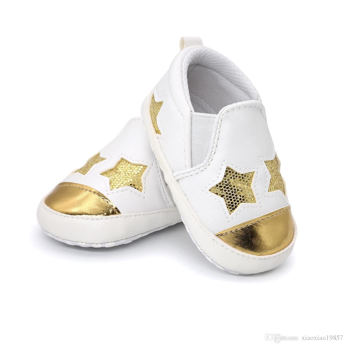 2018 Hot Sale Pu Leather Bling Sequins Stars Baby Shoes Moccasins Infant  Toddler Boys Girls First Walkers Sneakers for 0-18M Baby Moccasins Baby  Sneakers ... 9cef90b00e5a