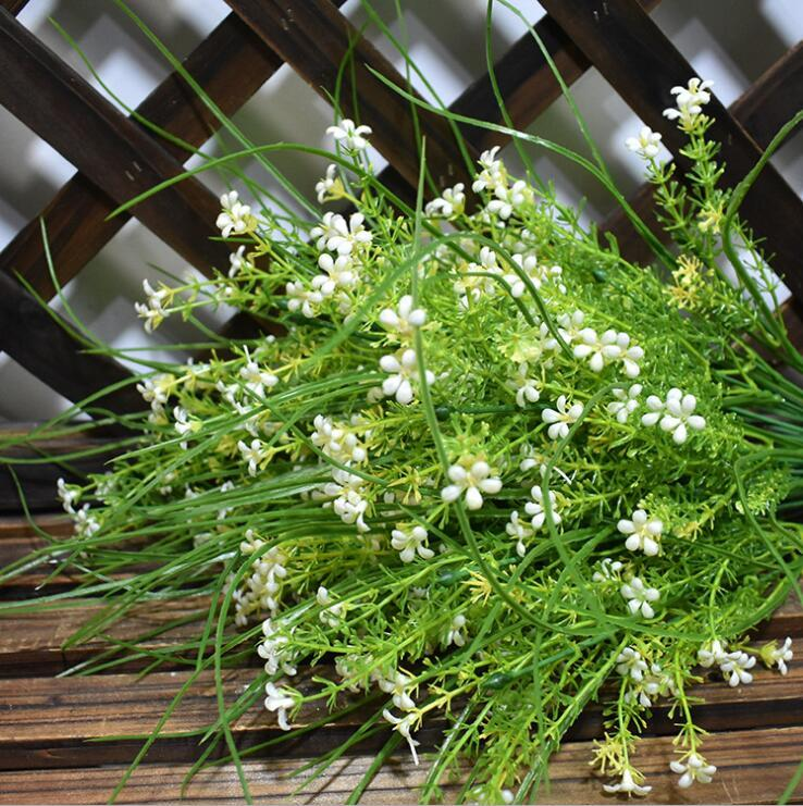 2018 white little star flower with long leaf bunch artificial flower 2018 white little star flower with long leaf bunch artificial flower greenery plant fake flowers plastic green plant from chenjong 3318 dhgate mightylinksfo