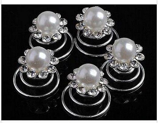 Comercio al por mayor 120 Unids Boda Nupcial Crystal Pearl Swirl Twist Hair Pin Spin Pins para Joyería de Las Mujeres