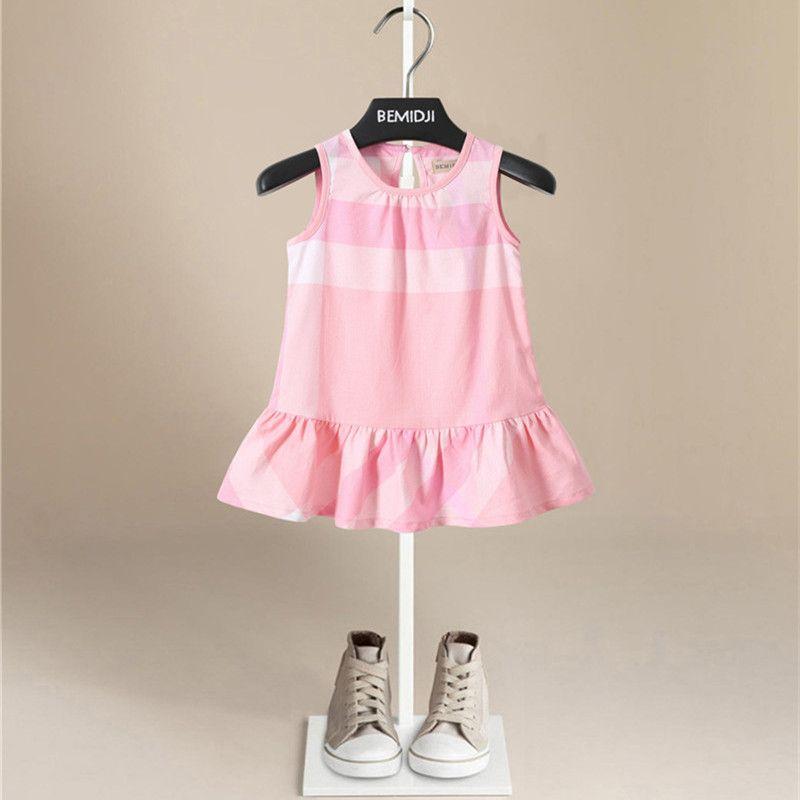 4e87ed1e250 2019 Hot Sale Fashion Children S Sleeveless Dress Summer Girls England  Style Plaid Dresses Kids Pure Cotton From Yswkmt888