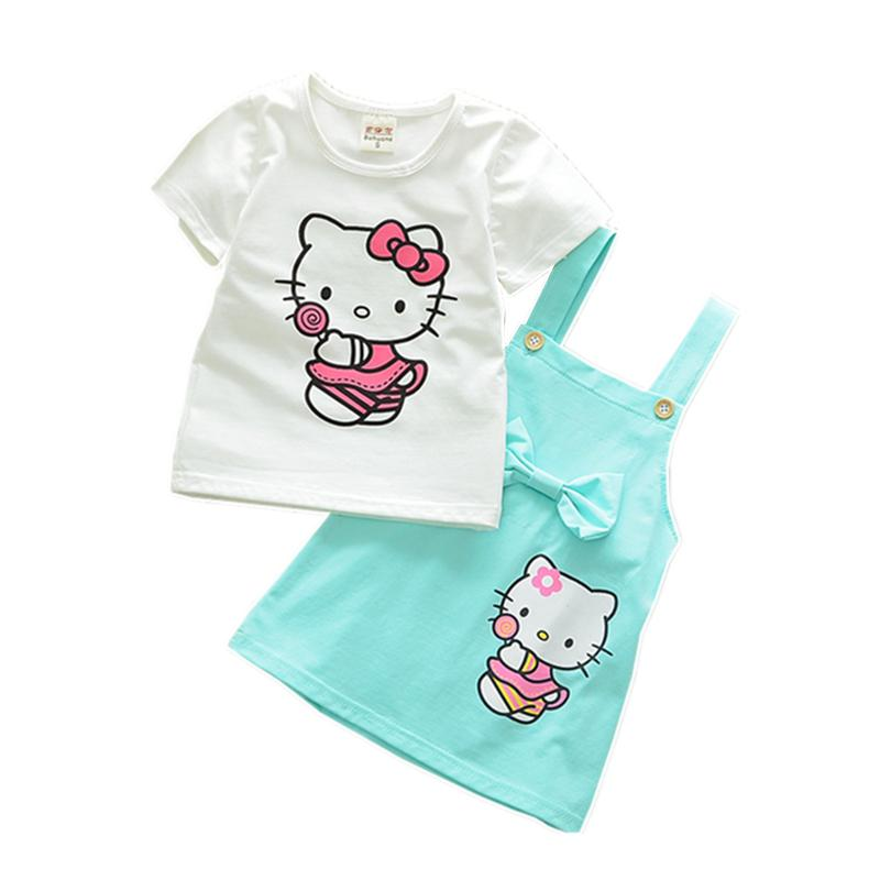 09c6a96f142 2019 2018 New Summer Girls Clothing Sets Casual Cotton Cute Cat Short  Sleeve T Shirt Sling Skirts Children Kids Girl Clothes From Hd2213122