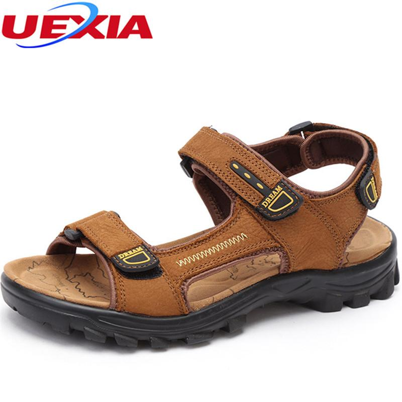 31c91438d0ff UEXIA Fashion Men Beach Sandals 2018 New Leather Men Sandals Summer Shoes  For Beach Outdoor Walking Shoes Male Chaussure Homme Mens Sandals Reef  Sandals ...