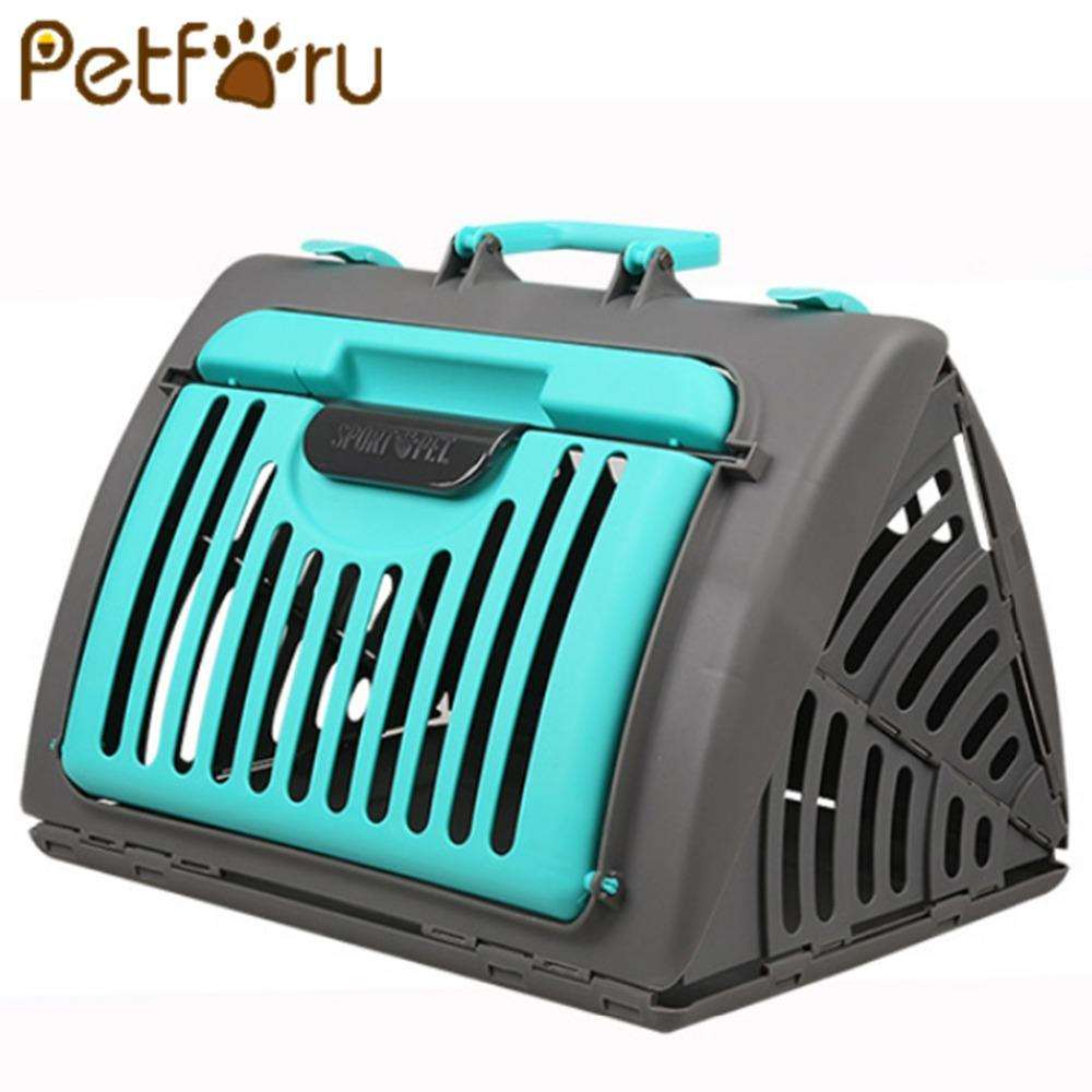 Foldable Cat Dog Carrier Cage Portable Solid Travel Pet Carrying ...