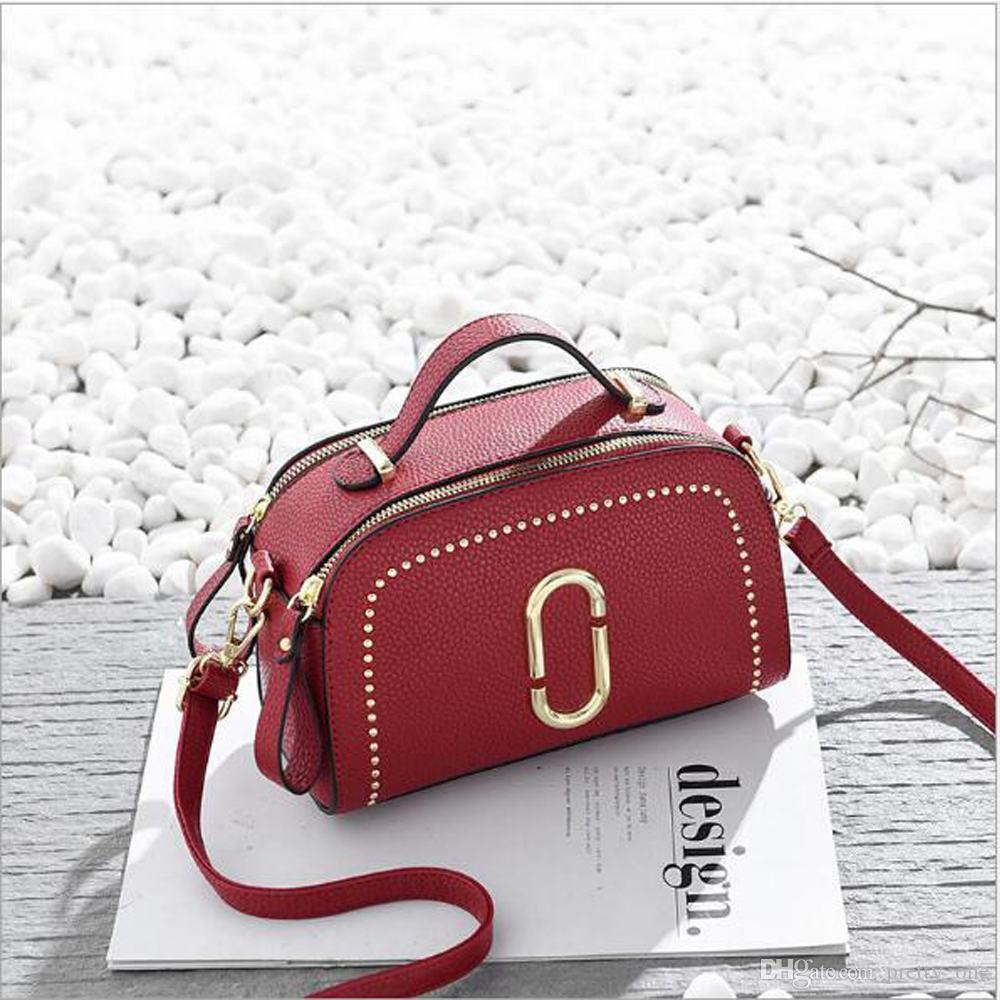 747a742f50 Fashion Womens Camera Bag Korean Style Pure Color Rivet Shoulder Bag Woman  Lady Crossbody Bag Gift Handbags Wholesale Purses For Sale From Pretty one