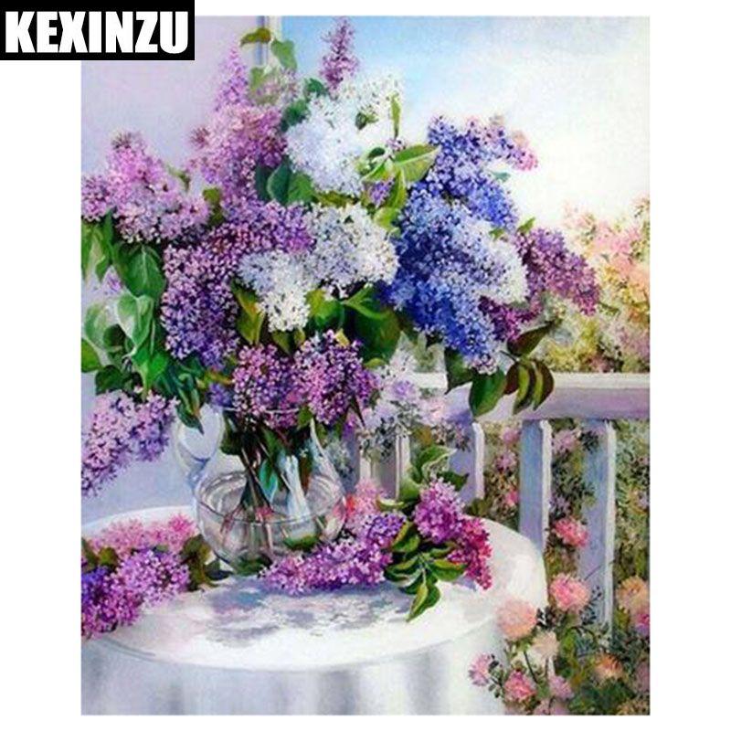 Satın Al Kexinzu 5d Diy çiçek Elmas Boyama çapraz Dikiş Kitleri