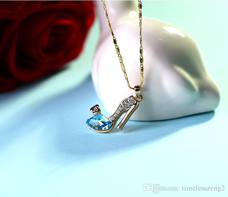 Elegant high-heeled shoes pendant necklace with crystal diamond collarbone chain fashion accessories birthday nice gift free ship