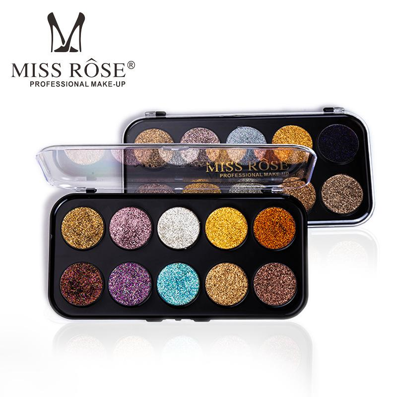 MISS ROSE New 10 Color Pigments Smoky Glitter Eyeshadow Palette Easy to Wear Waterproof Shimmer Eye Shadow Powder Makeup