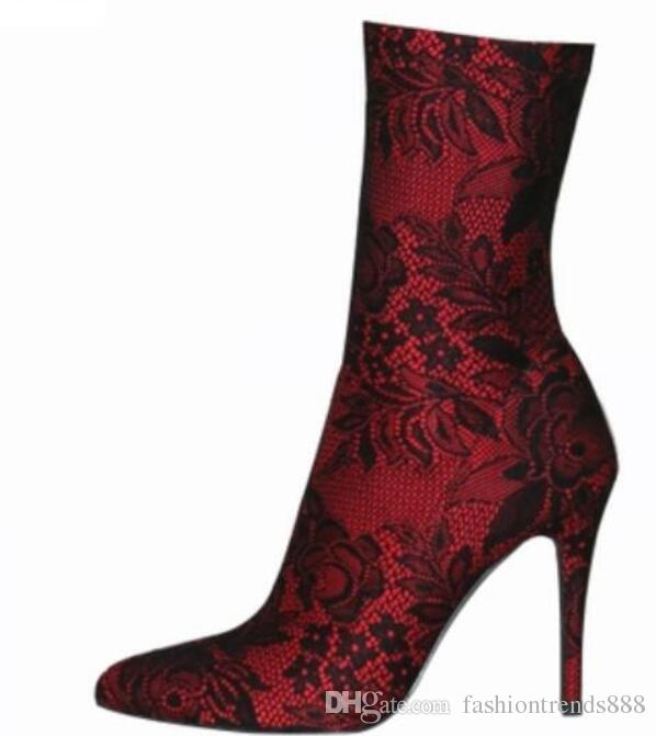 80d02aedf34 2018 sexy women black lace boots thigh high red lace booties thin heel over  knee high boots point toe high heel mujer botas