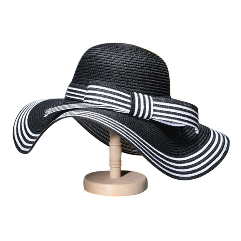 bb6c48ce9d01 GGOMU New Summer Elegant Bowknot Sun Hat Black White Striped Straw Hat  Beach Vacation Shade Folded Large Along ZLH 003 Rain Hat Hats In The Belfry  From ...