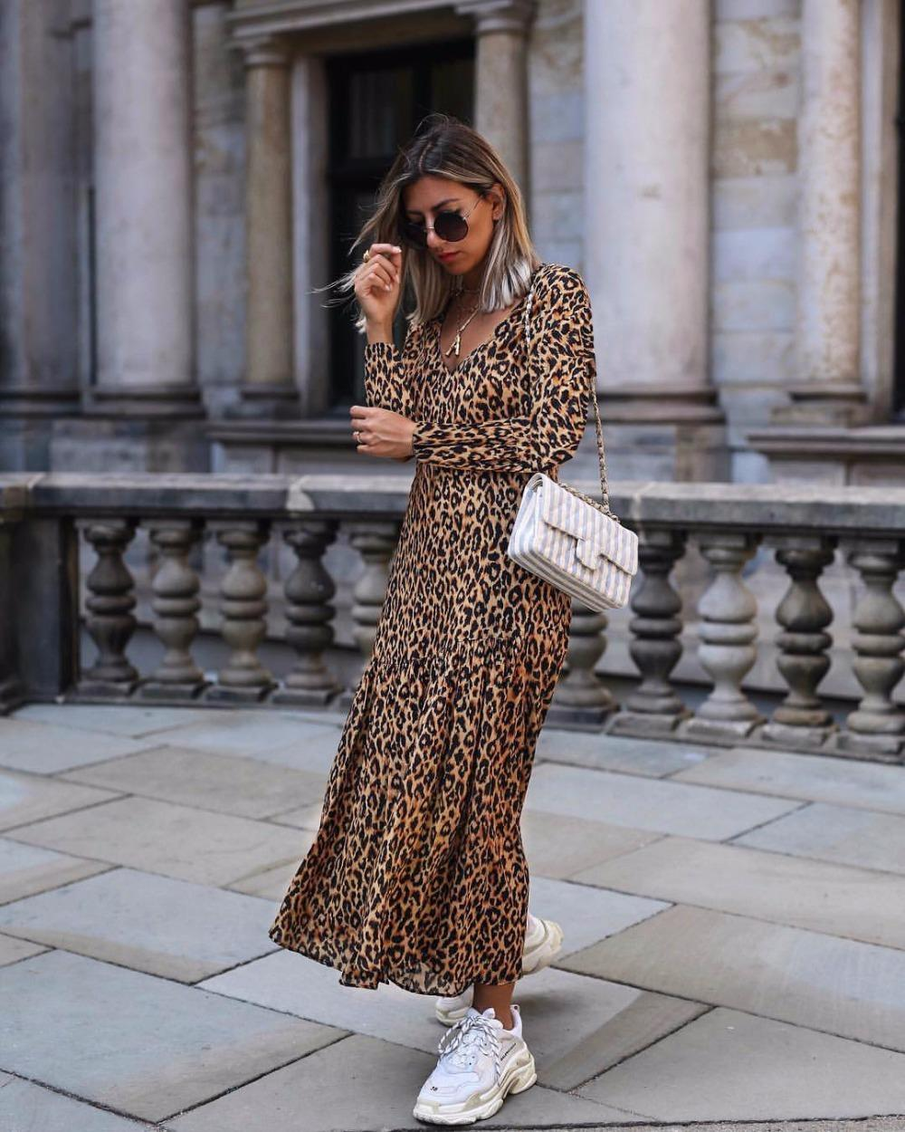 6cebff0351 Womens Leopard Print Maxi Dress Ladies Holiday Long Sleeve Fashion Dress  Casual Fashion Straight Casual Dress Green Dress Party Pink And White  Dresses For ...