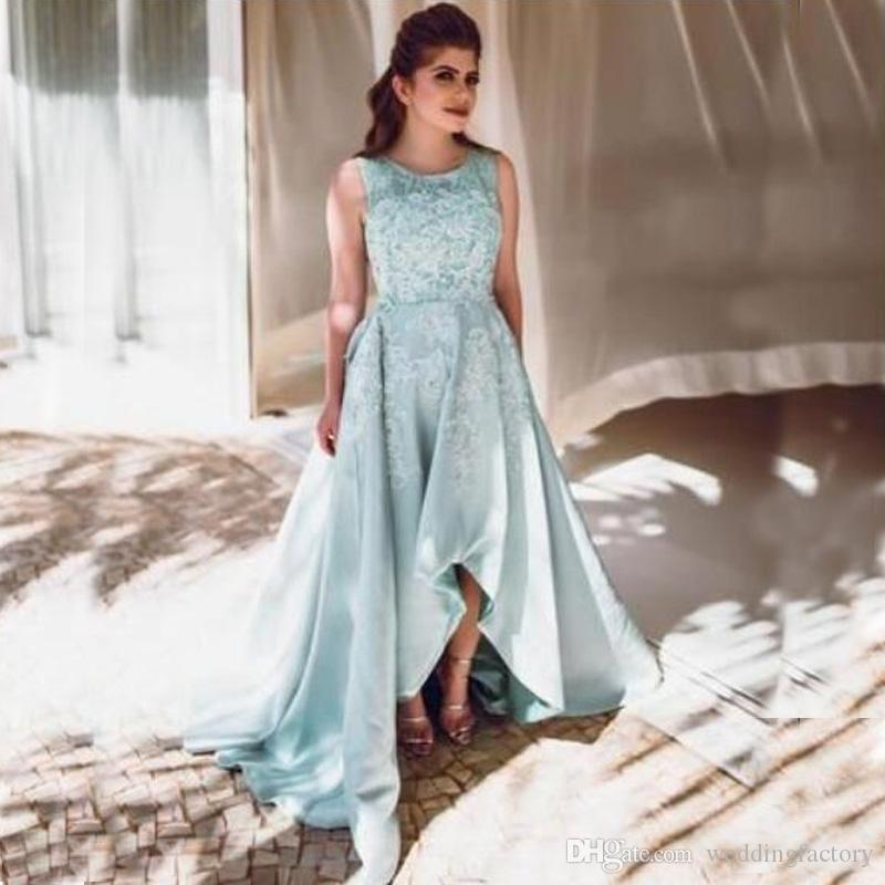 Plus Size High Low Prom Dresses Sheer Jewel Neck Sleeveless Lace Appliques  Short Front Long Back Cheap High Quality Evening Party Gowns
