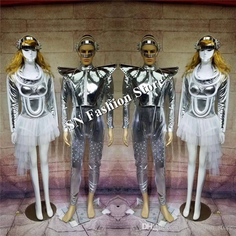 DC12 Ballroom dancer costumes silver mirror stage show wears cloth robot suit dj dress bar catwalk model performance club skirt nightclub