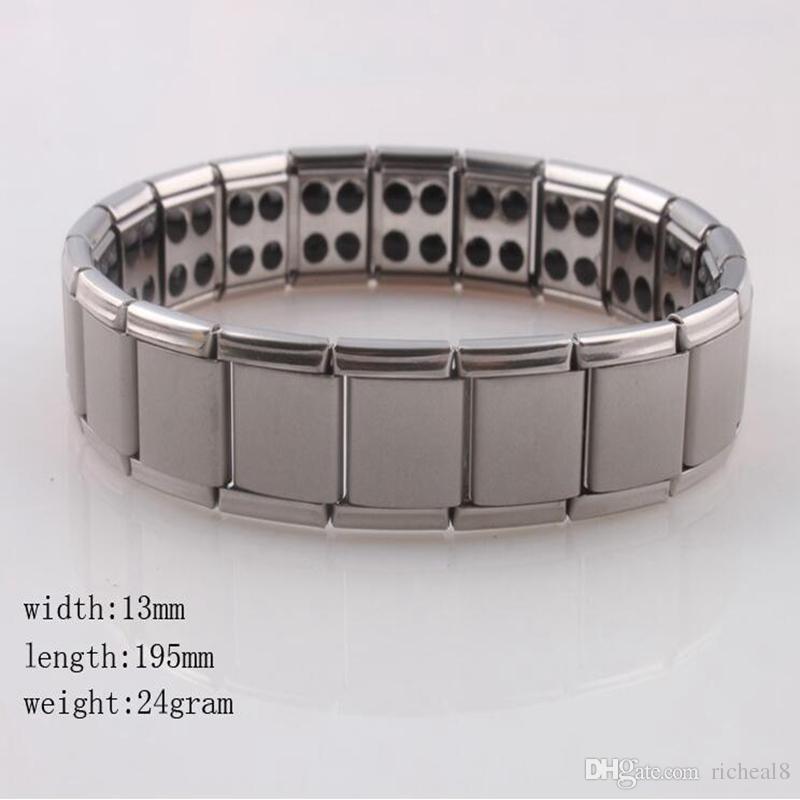 Health bracelets magnetic GE power titanium steel Magnetic Energy 80 Germanium Power Bracelet energy Balance bangles fashion jewelry