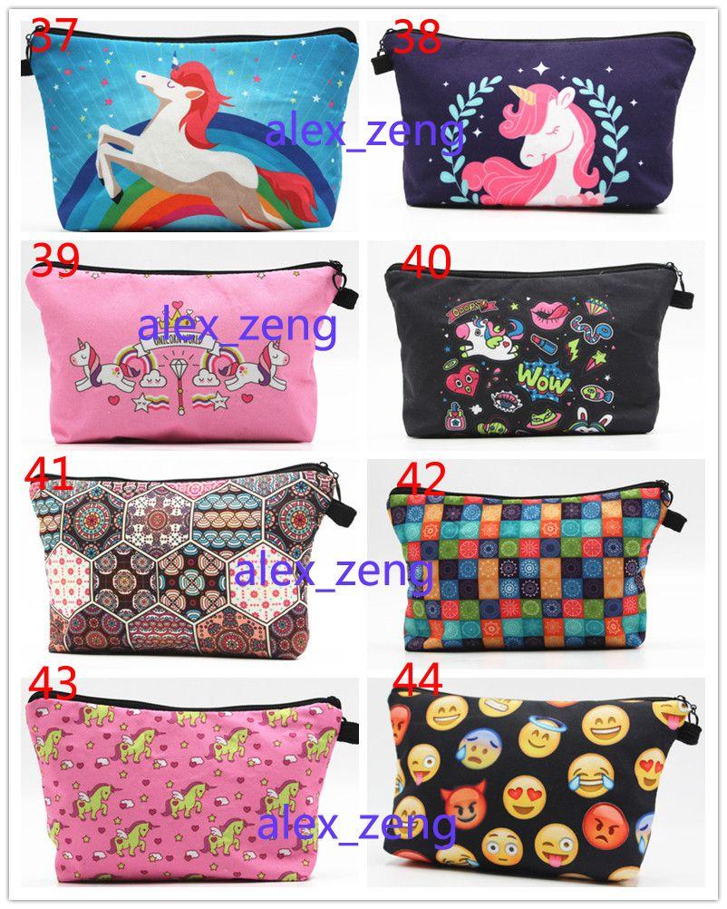 44 أنماط حقيبة ماكياج يونيكورن حقائب التجميل 3D طباعة الأزياء سستة يونيكورن حقيبة لمستحضرات التجميل أكياس قلم رصاص شحن مجاني