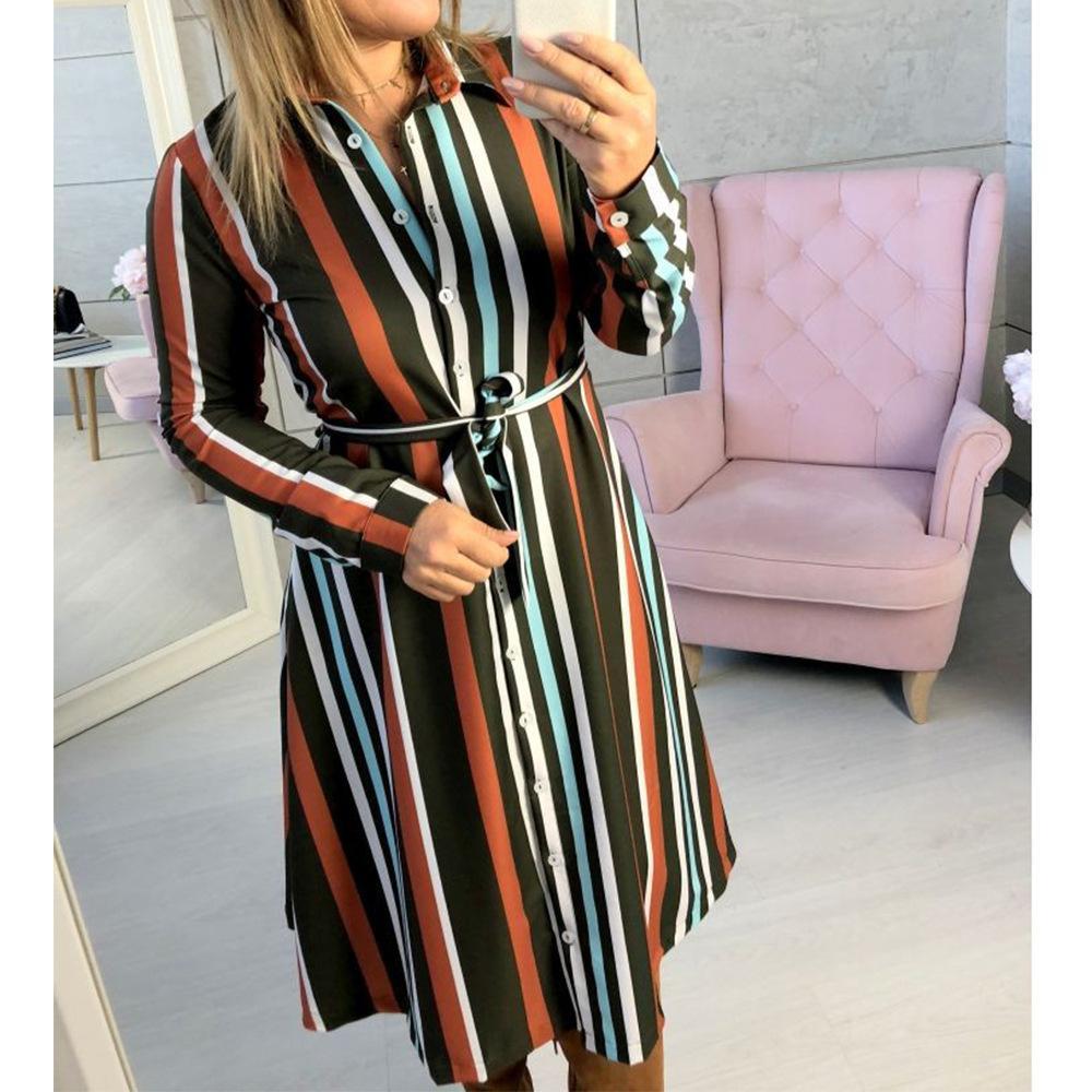 95bad888165 Feminino Sashes Striped Button Dress Autumn Women Midi Shirts Dresses 2018  Spring Turn Down Collar Office Dress Plus Retro M0158 Dress For A Cocktail  Party ...