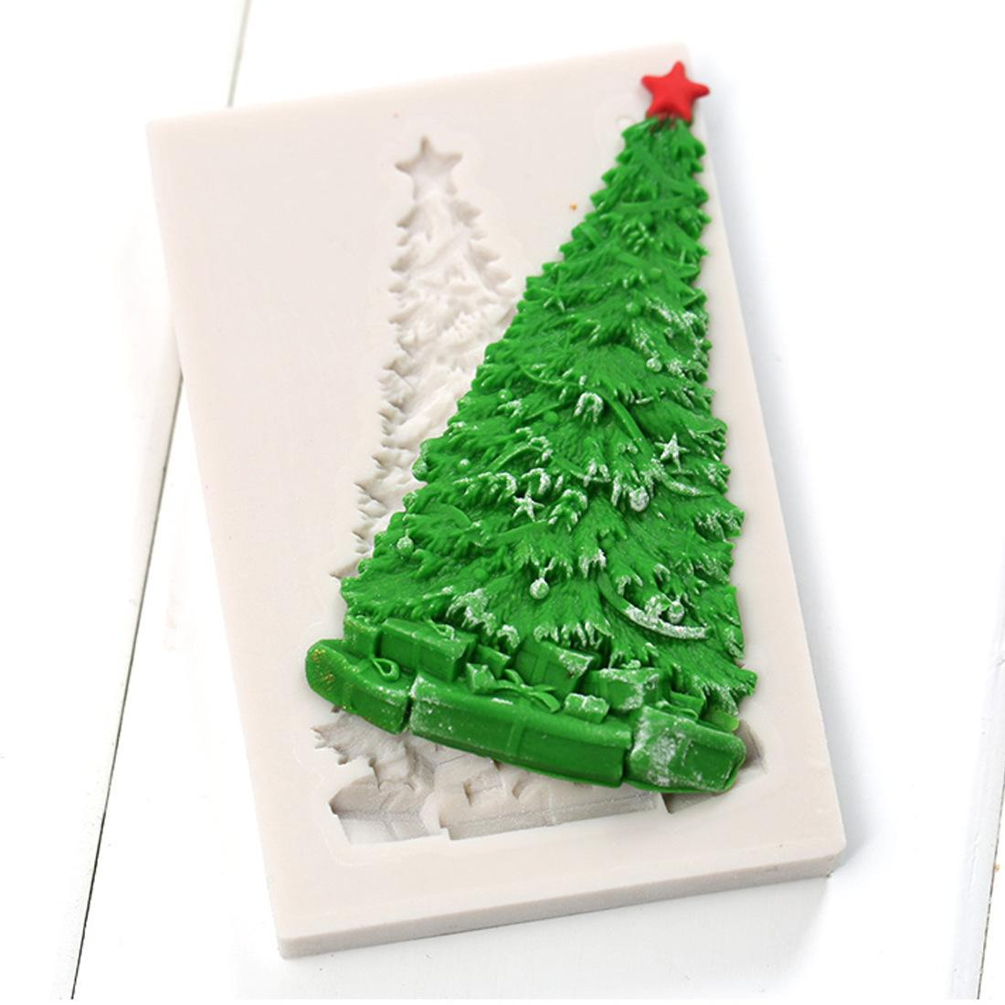 2018 wholesale christmas silicone molds christmas tree cake decorating fondant mold candy chocolate gumpaste moulds bakeware yb200322 from shutie
