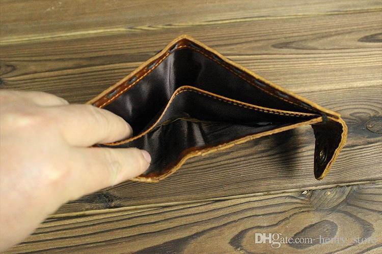 2017 hecho a mano de cuero genuino hombres carteras hombre largo corto pequeño cerrojo Vintage cerrojo diseñador Carteira con tarjeta de crédito titulares