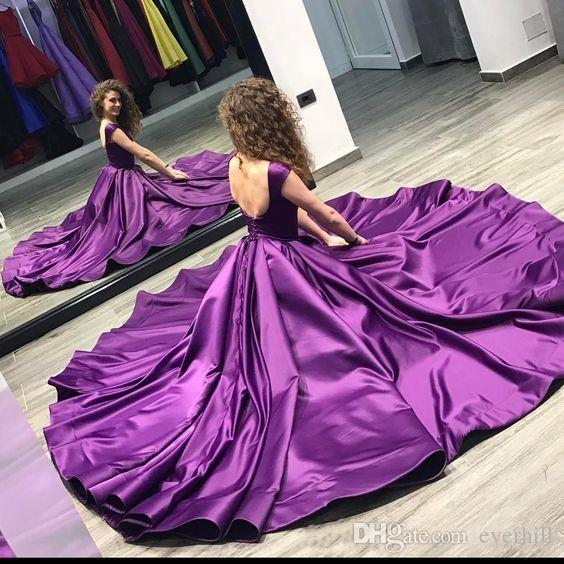 Sexy Backless Purple Evening Formal Wear Long Arabic Women Evening Dresses Floor Length Satin Sleeveless Formal Gowns Events Party Dresses
