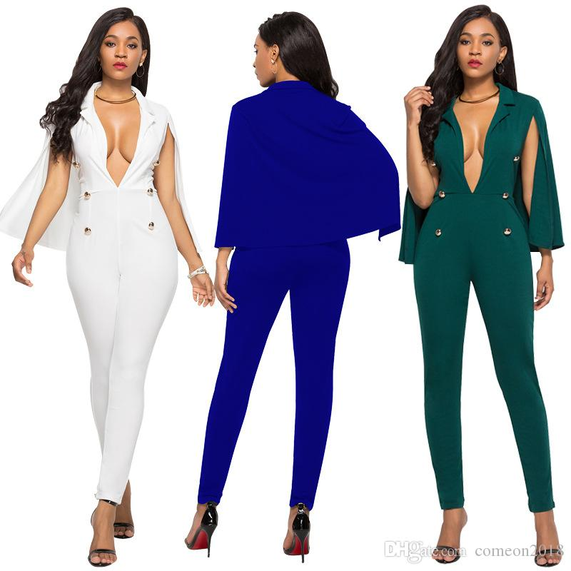 d87c41c51624 Women Clothes sexy deep V Neck club wear party jumpsuit 2019 Spring Summer  Fashion bodycon One Piece Sleeveless romper Women Elegant Overall